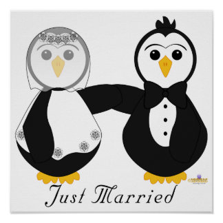 Penguins Getting Married Just Married Poster
