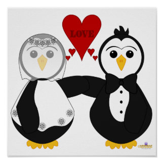 Penguins Getting Married Thinking Love Poster