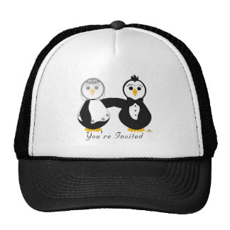 Penguins Getting Married You're Invited Hats