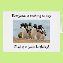"""PENGUINS GLAD """"YOU"""" R 40 AND THAT THEY ARE NOT CARD"""