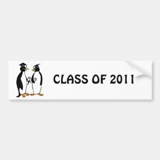 Penguins Graduation Cartoon Bumper Sticker