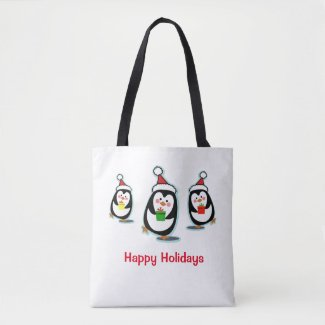 Penguins Happy Holidays Christmas Tote Bag