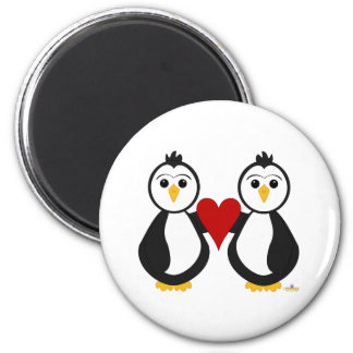 Penguins Holding A Heart 2 Inch Round Magnet