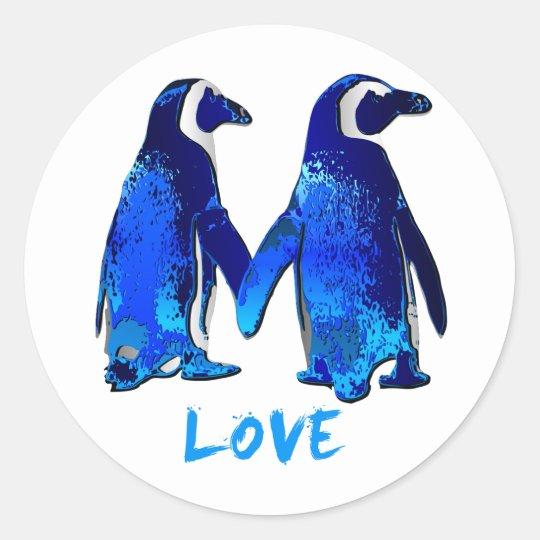 Penguins Holding Hands Love Design Classic Round Sticker