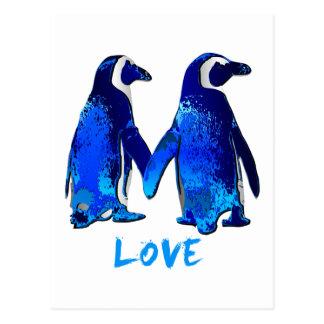 Penguins Holding Hands Love Design Postcard