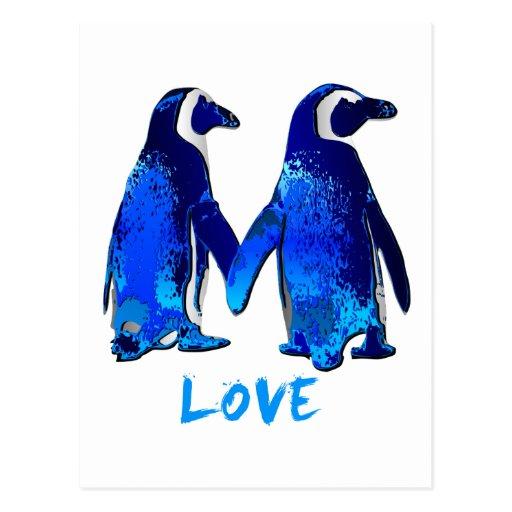 Penguins Holding Hands Love Design Postcards