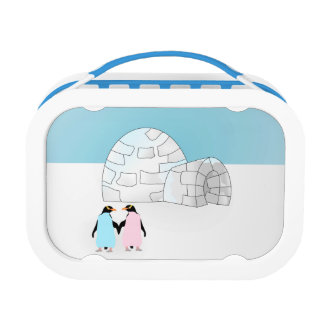 Penguins holding hands outside igloo lunch box