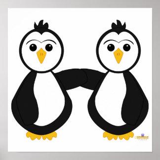 Penguins Holding Hands Poster