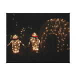 Penguins Holiday Light Display Canvas Print