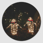Penguins Holiday Light Display Classic Round Sticker