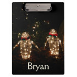 Penguins Holiday Light Display Clipboard