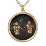 Penguins Holiday Light Display Gold Plated Necklace