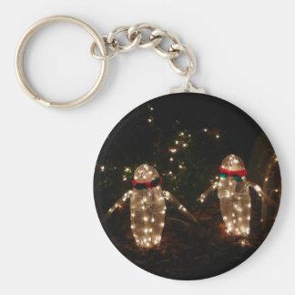 Penguins Holiday Light Display Keychain
