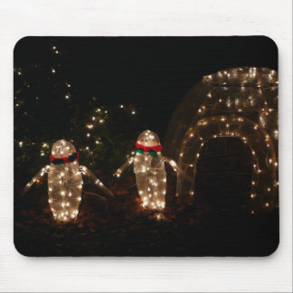 Penguins Holiday Light Display Mouse Pad