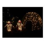 Penguins Holiday Light Display Postcard