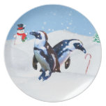 Penguins Holiday Plate Removable Caption