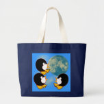 Penguins Howling at the Moon Canvas Bags