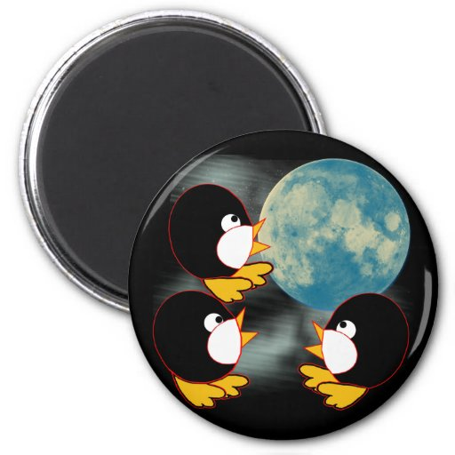 Penguins Howling at the Moon Fridge Magnets