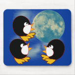 Penguins Howling at the Moon Mouse Pad