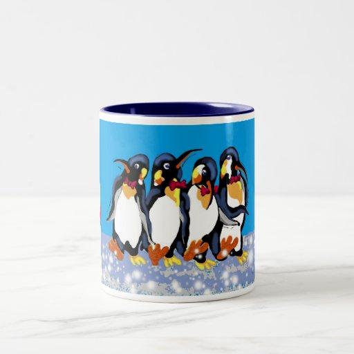 Penguins in bowties, Merry Christmas! Two-Tone Coffee Mug