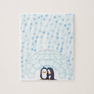 Penguins in Igloo While Snowing Jigsaw Puzzles
