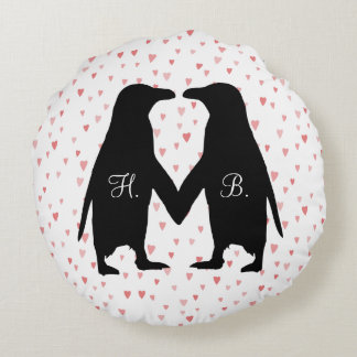 Penguins in love cushion - add your initials
