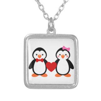 Penguins in Love Square Pendant Necklace