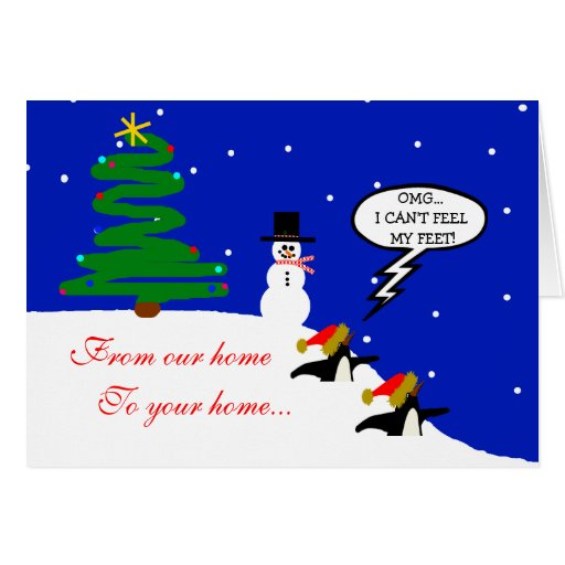 Penguins In Snow-Christmas Greeting Card