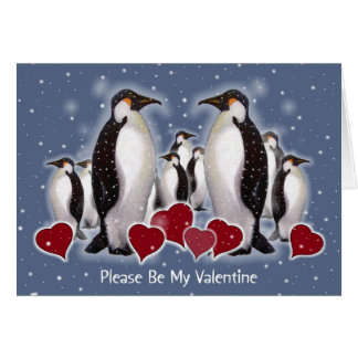 Penguins In Snow: Heart: Valentine Greeting Cards