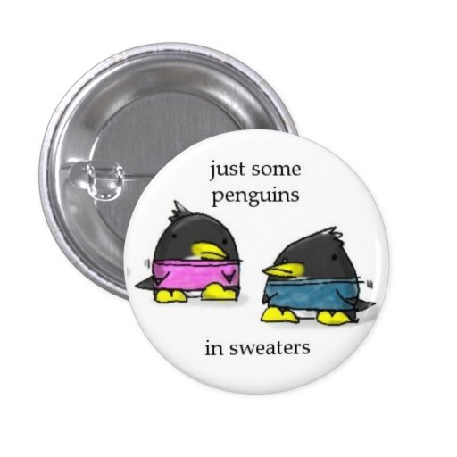 penguins in sweaters 1 inch round button