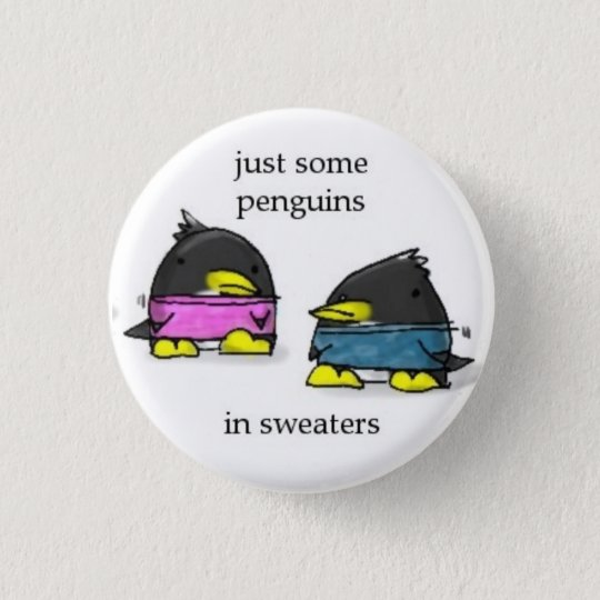 penguins in sweaters pinback button