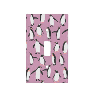 Penguins in the Snow on Purple Background Light Switch Cover