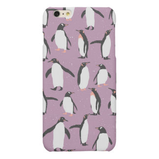 Penguins in the Snow on Purple Background Matte iPhone 6 Plus Case