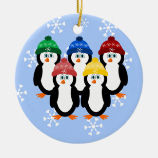 Penguins In Winter Hats Christmas Tree Ornament