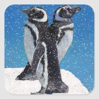 Penguins in Winter & Snow Square Sticker