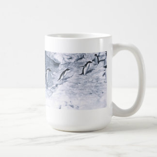 Penguins Jumping onto Land. Classic White Coffee Mug
