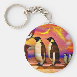 Penguins Basic Round Button Keychain