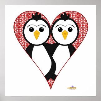 Penguins Lace Heart Poster