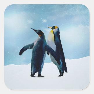 Penguins Live and let live Square Sticker