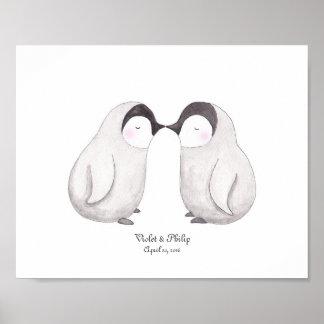 Penguins Love Poster Customizable Art Wedding Gift