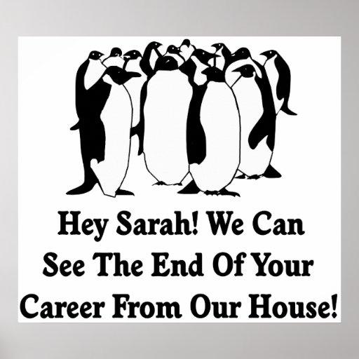 Penguins Message To Sarah Palin Poster