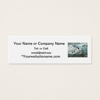 Penguins on a snow bank mini business card