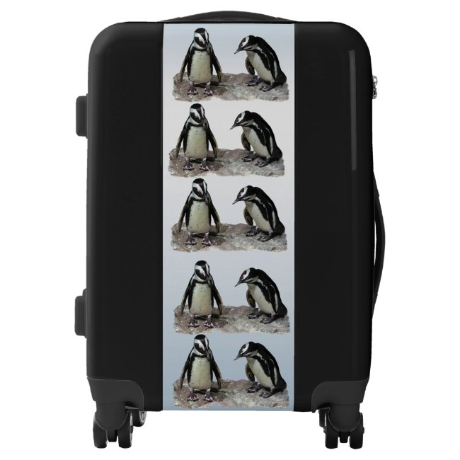 Penguins on Blue Background Luggage