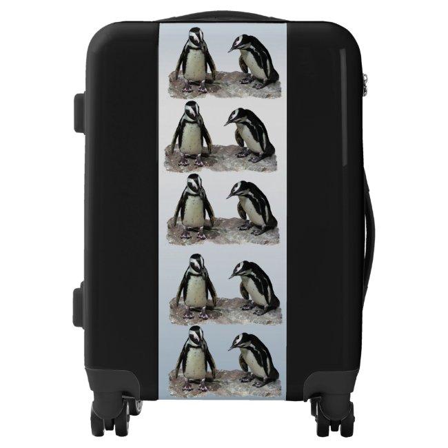 Penguins on Blue Background Luggage