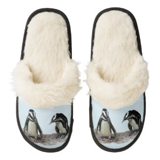 Penguins Pair of Fuzzy Slippers