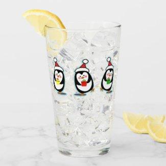 Penguins Pint Glass - Christmas Holiday Design