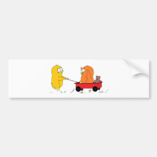 Penguins Playing in a Wagon Bumper Sticker