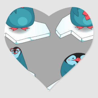 Penguins playing on ice heart sticker