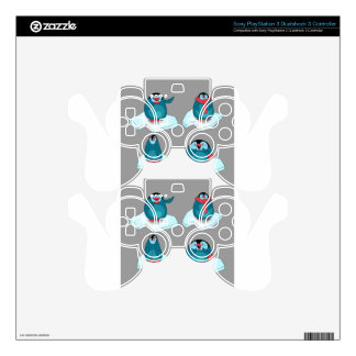 Penguins playing on ice PS3 controller skin