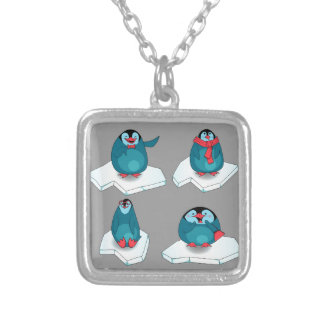 Penguins playing on ice square pendant necklace